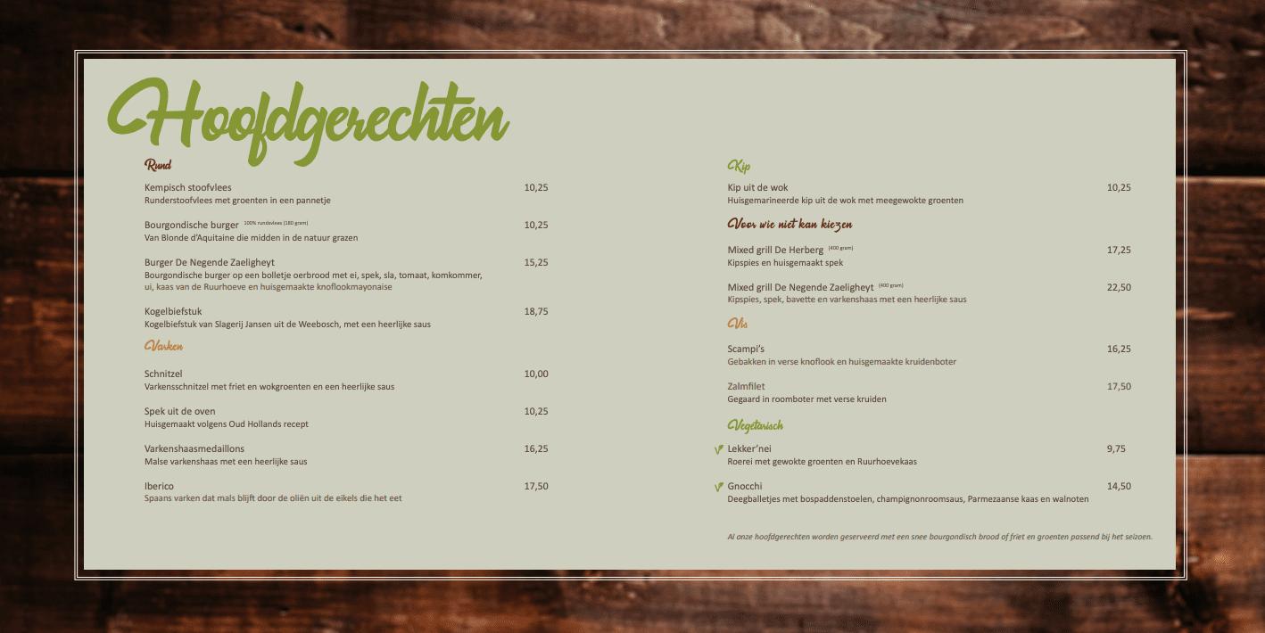 menukaart diner hoofdgerechten