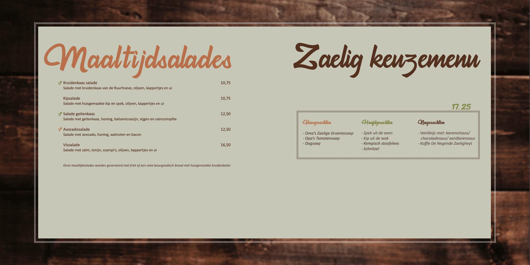 menukaart diner maaltijdsalades en keuzemenu