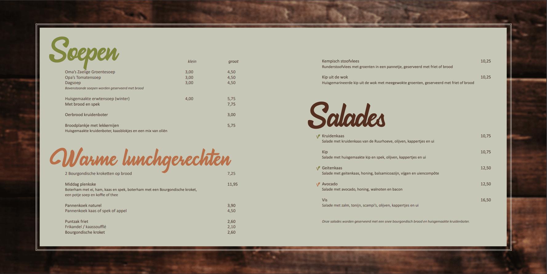 Lunchkaart soepen, warm en salades